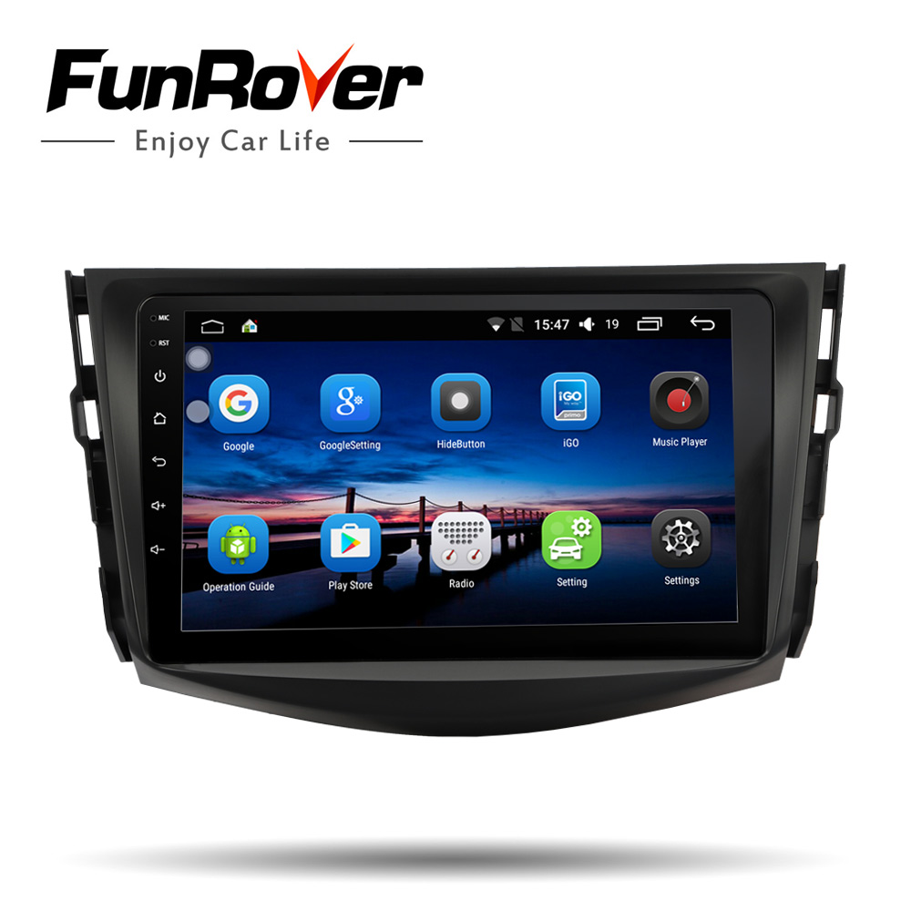 Lecteur de navigation gps dvd de voiture Funrover IPS android 8.0 2 din pour Toyota RAV4 Rav 4 2007-2011 autoradio multimédia stéréo 4 core