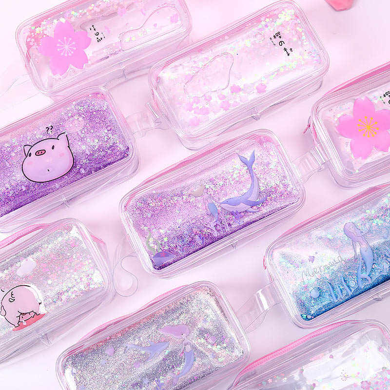 Kawaii Quicksand Mermaid Pencil Case High Capacity Pencil Bag Transparent Glitter Pencilcase For Girls Pen Box School Supplies