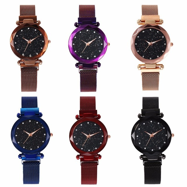 Best Selling Women Mesh Magnet Buckle Starry Sky Watch Casual Luxury Women Geometric Surface Quartz Watches Relogio Feminino 5