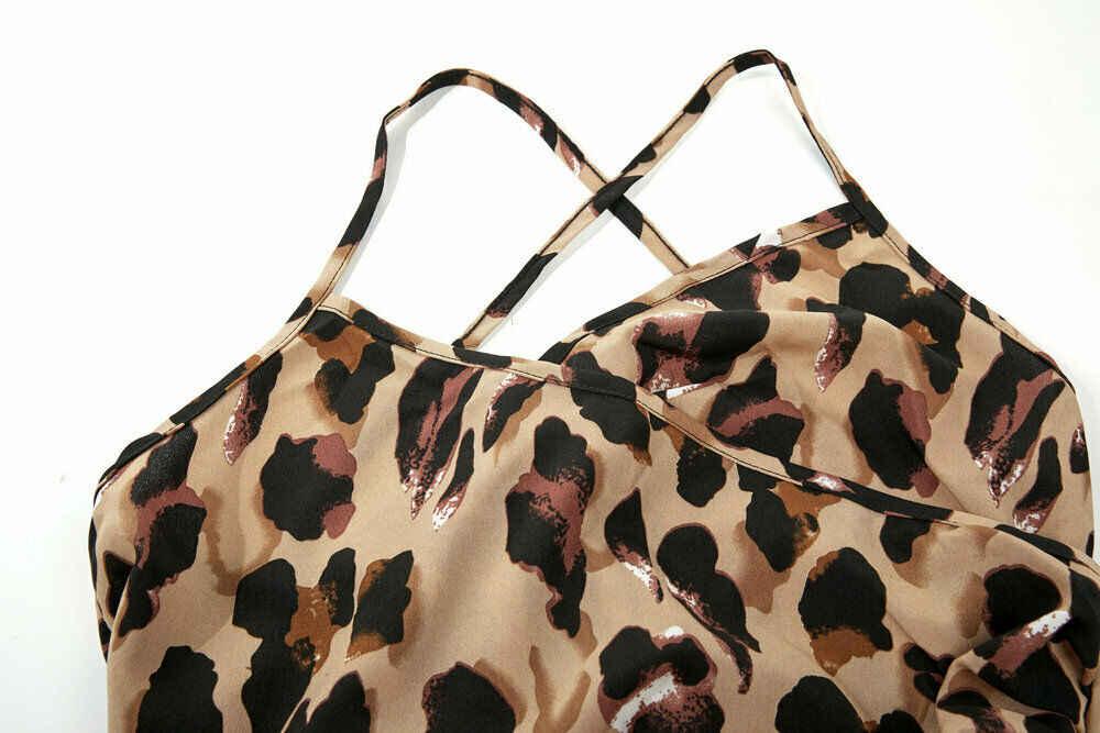 Moda feminina verão boho midi vestido de noite espaguete cinta leopardo impressão férias lado fenda festa praia vestidos de verão