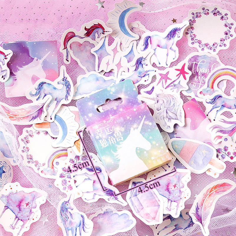 46Pcs/Box Cute Lucky Unicorn Stickers Paper Adhesive Stickers For Children Gifts DIY Decorative Diary Scrapbooking Photo Ablums