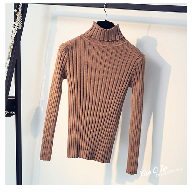 2019 Korean Solid Knitted Women Sweaters And Pullovers Ladies Turtleneck Long Sleeve Knitting Sweater Female Slim Basic Tops