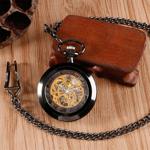 Image 4 - Relógio de bolso de luxo preto retro com corrente de bolso 30 cm esqueleto mecânico mão enrolamento relógio de bolso reloj de bolsillo