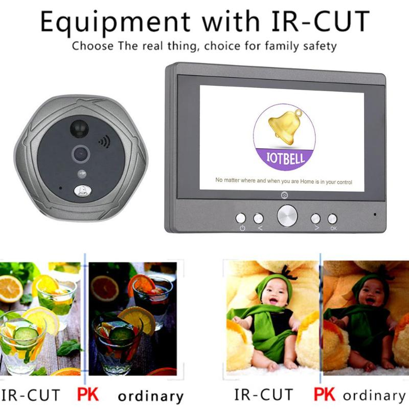 5 Inch Wifi Wireless Digital Intercom Doorbell Peephole Viewer Home Security Camera 160 Degrees Doorphone US  EU Plug