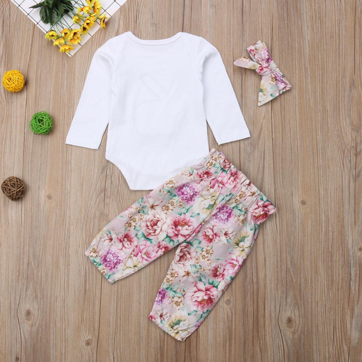 3Pcs Newborn Baby Girls Rabbit Tops Romper Pants Headband Outfits Set Clothes