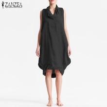 ZANZEA Women Cotton Linen Solid Knee-length Dress 2019 Summer Sarafans Female Work Office Vestido Casual Party Baggy Tanks
