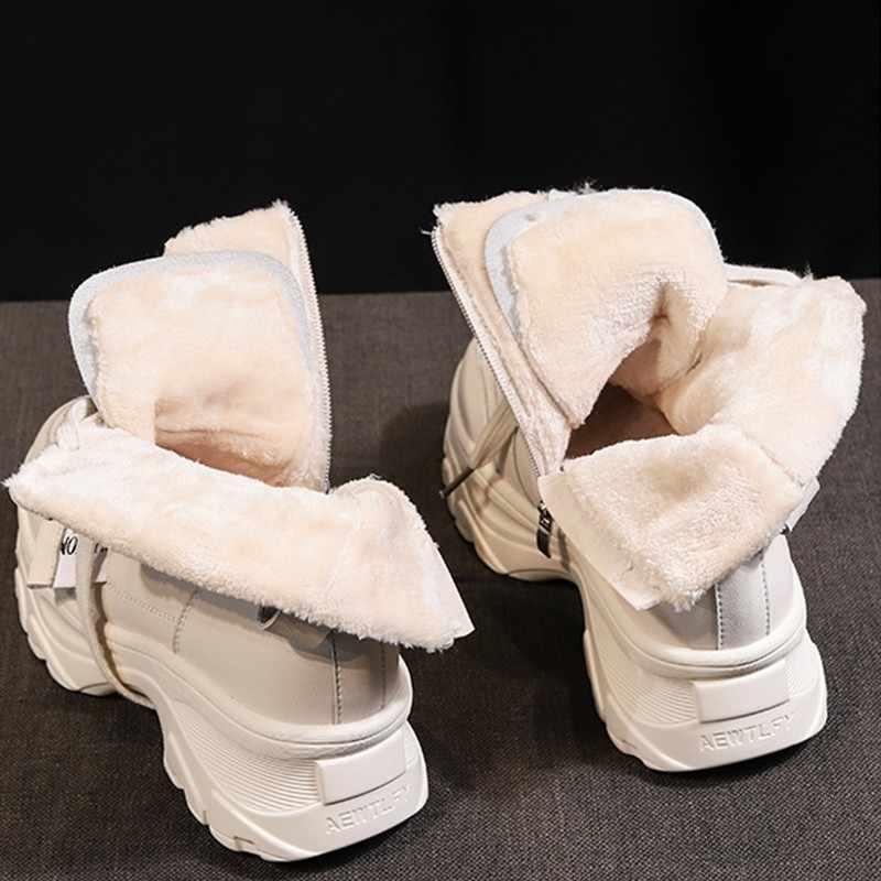 Vrouwen Dikke Bodem Snowboots 2019 Lace Up Martin Laarzen Vrouwelijke Enkel Militaire Rits Merk Winter Warm Platform Sleehak schoenen