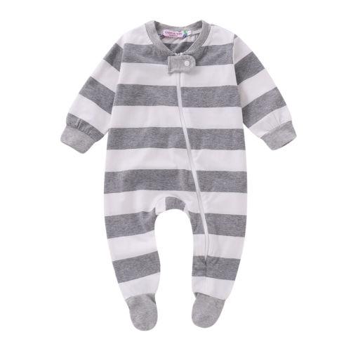09e986f77 Stripe Newborn Infant Kids Baby Girl Boy Cotton Footies Romper Long ...