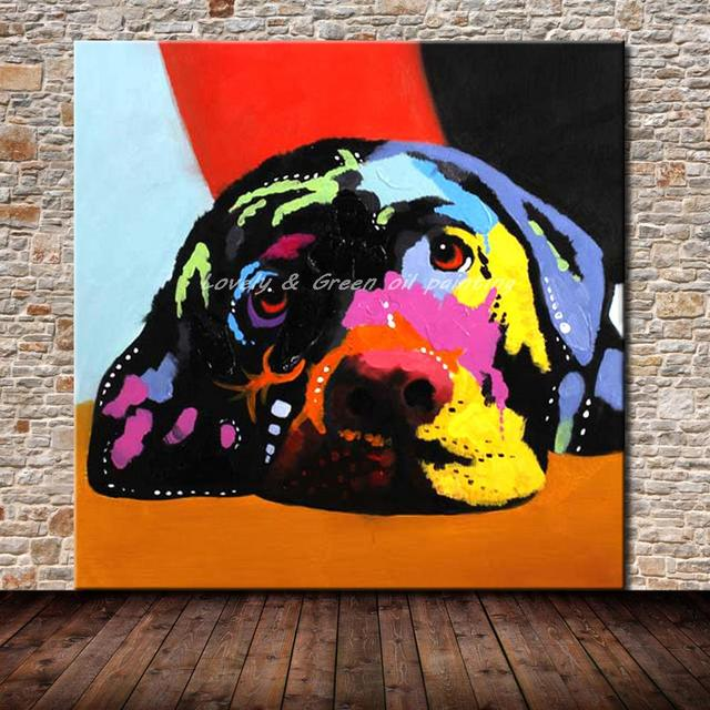 Hand Painted Modern Abstract Colorful Dog Cartoon Oil painting On Canvas Wall Art Pictures Paintings For Living Room Home Decor