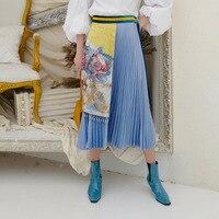 LANMREM 2019 New Spring Female High Waist Patchwork Elastic Bouffancy Floral Print Tassel Sashes Women's Pleated Skirt TA123