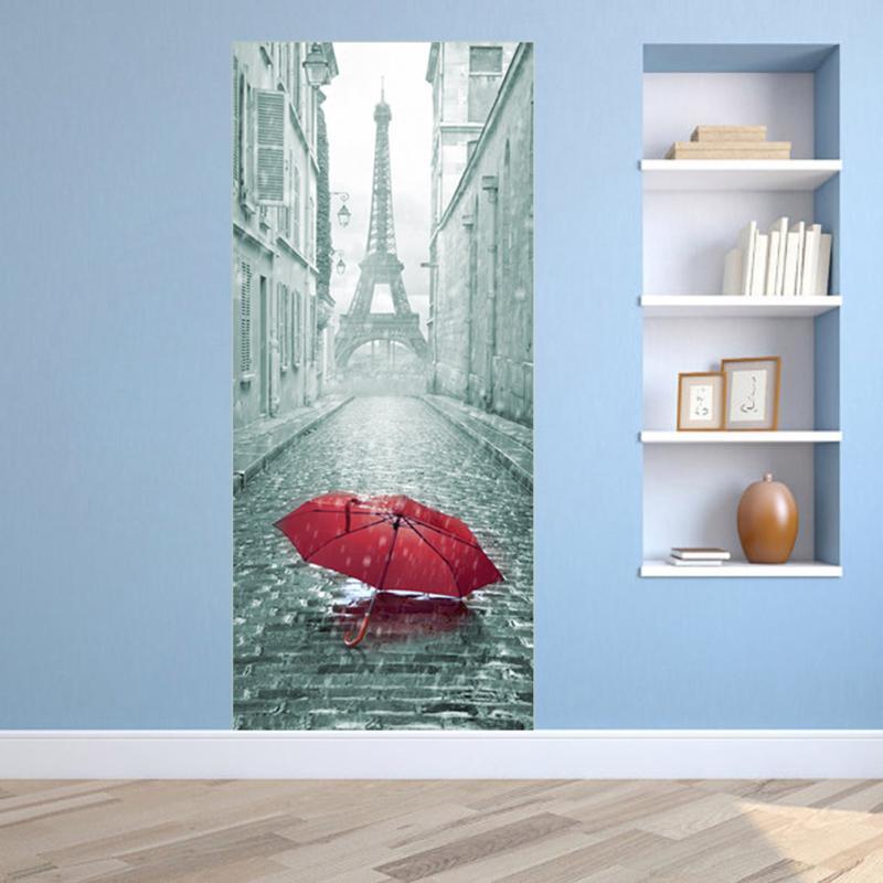 2 stks/set 3D Creatieve Stickers Deur Muur Sticker DIY Mural Slaapkamer Home Decor Poster PVC Waterdichte Deur Sticker Imitatie - 3