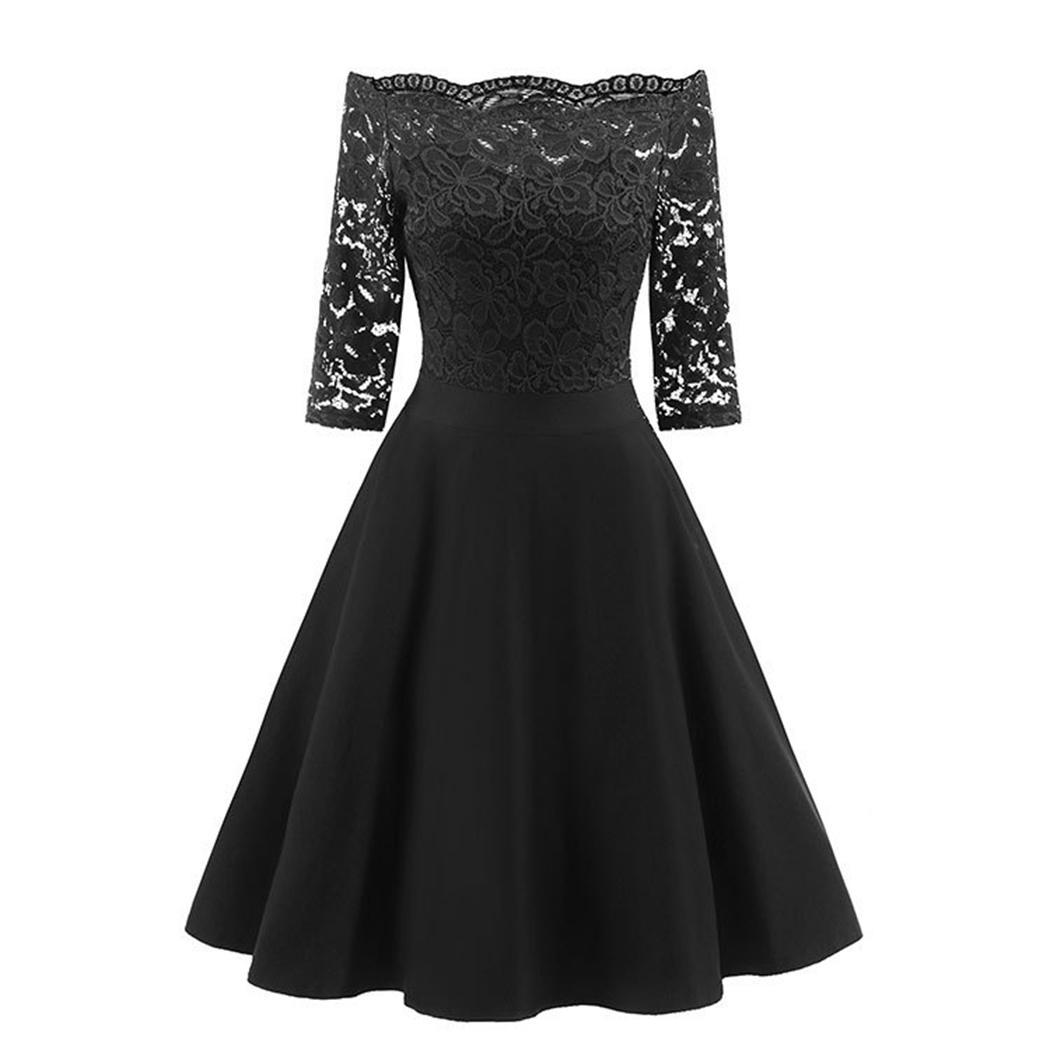 AL'OFA Elegant Lace Short   Cocktail     Dresses   Women Strapless 3/4 Sleeve High Waist   Dress     Cocktail   Party Prom   Dress