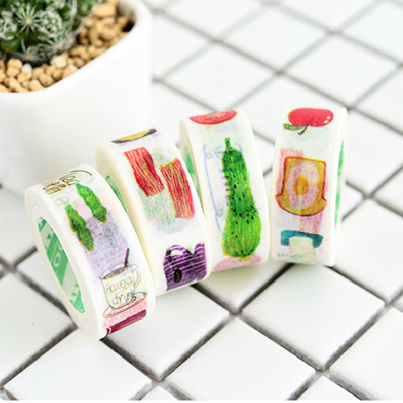 1pc Kawaii Food Washi Tape  Decorative Adhesive Masking Tapes Cute Vegetables TapesFor Decorations Scrapbooking Diary Diy Albums