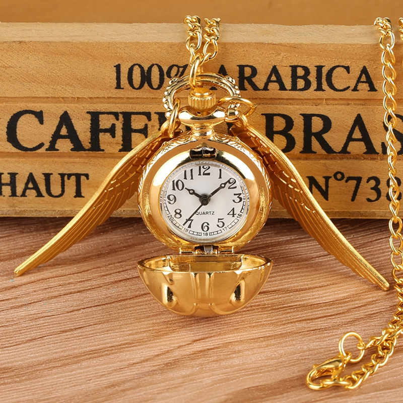 Top Luxury Gold Snitch Ball Pocket Watch Tiny Wings Necklace Pendant Chain Clock Gifts For Kids Children Reloj Souvenir Gifts