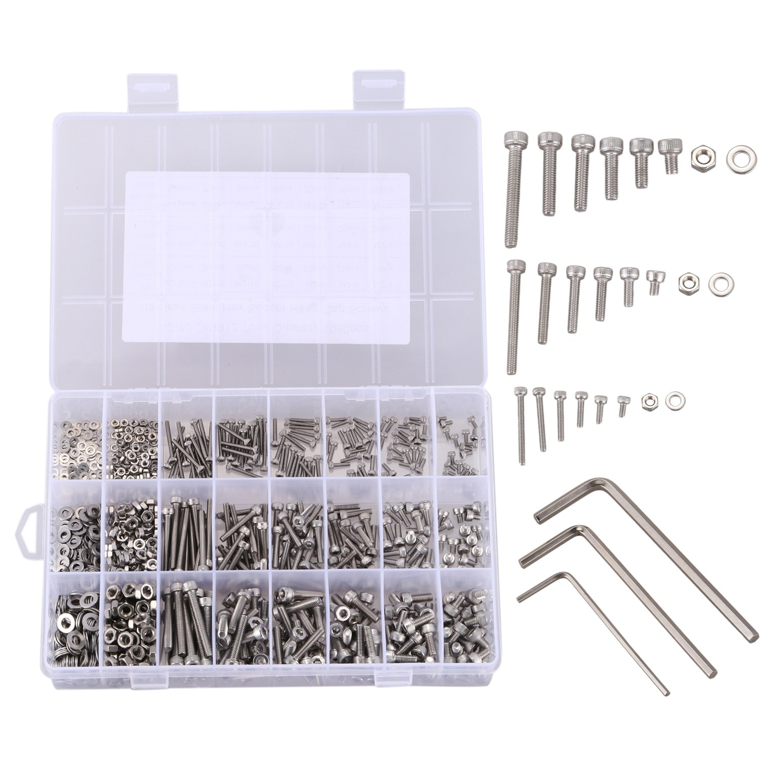 CNIM Hot 1080pcs Silver Stainless Steel Screw And Nut Hex Wrenches Flat Washer Assortment Set Kit With Storage BoxCNIM Hot 1080pcs Silver Stainless Steel Screw And Nut Hex Wrenches Flat Washer Assortment Set Kit With Storage Box