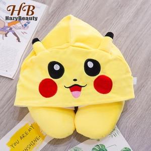 Cute Cartoon Pikachu Animale di Cotone Peluche di Figura di U Collo di Viaggio Con Cappuccio Cuscino Ufficio del Collo Con Cappuccio Da Viaggio Aereo Cuscino per il Volo(China)