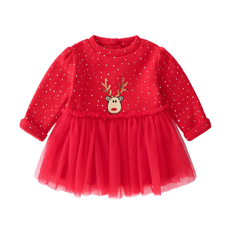 Girls new red dress with velveteen cotton long-sleeved princess dress embroidered deer Christmas New Year stitchingGirls new red dress with velveteen cotton long-sleeved princess dress embroidered deer Christmas New Year stitching