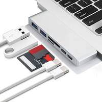 6 in 1 Dual Plug Adapter Charging and Reader USB C Splitter 3.0 Type-C For Apple Macbook Pro Mac PC Laptop Mobile Phone Adapters