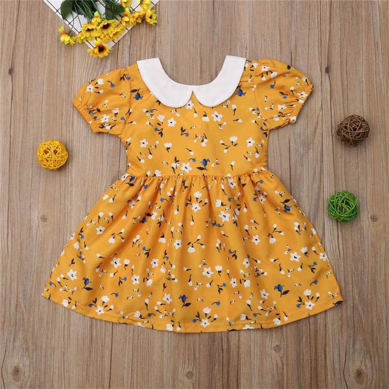 Платье с короткими рукавами для маленьких девочек Летняя новорожденная девочка-Новорожденный детское платье с цветочным рисунком праздничная одежда для выпускного вечера для маленьких девочек