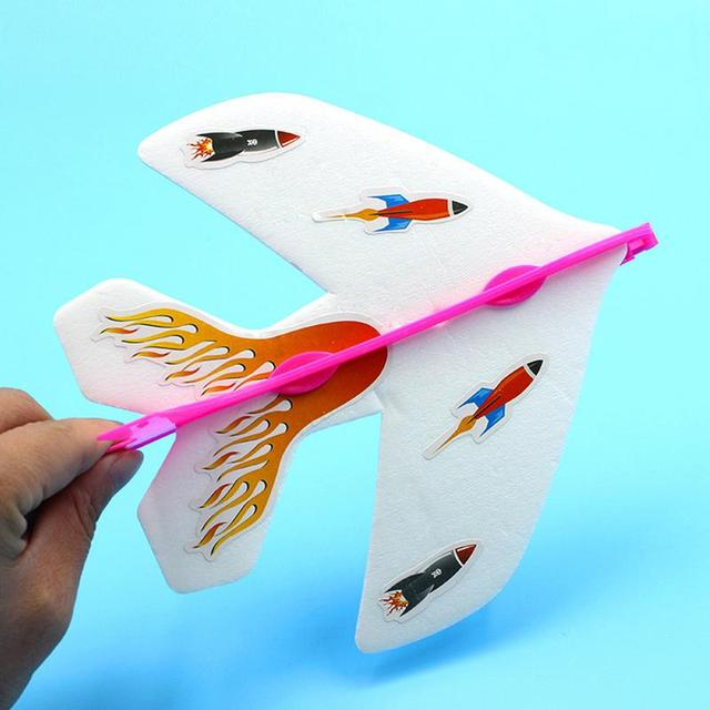 Kids DIY Handmade Flash Ejection Cyclotron Light Plane Foam Assembly Slingshot Aircraft For Kids Gift Toys Support Drop Shipping