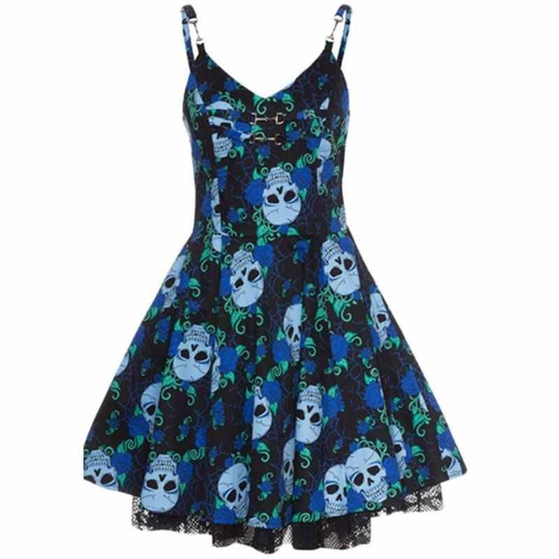 b19aa9f22ff Women Mini Dress Summer Goth Skull Print Vintage Casual Sundress Party  Backless Sexy Elegant A Line