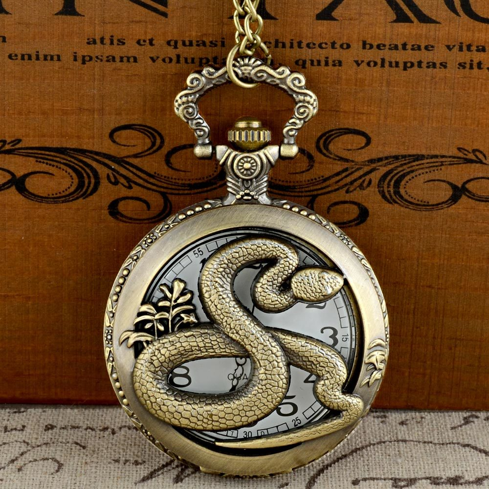 Vintage Bronze Snake Graphic Quartz Pocket Watch With Chain Retro Men Women Classic Pendant Necklace Clock Gift