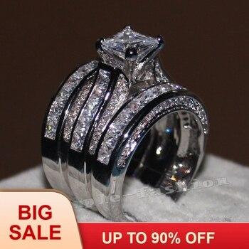 Gioelleria raffinata e alla moda Delle Donne Completa 20ct Cz pietre anello 14KT Oro Bianco Riempito 3-in-1 di Fidanzamento Fascia di Cerimonia Nuziale Anello set