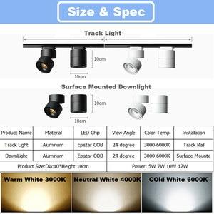 Image 4 - GD 4pcs LED Track Light 5W 7W 10W 12W LED Recessed Downlight AC85 265V Open Mounted Downlight Track Rail Light Adjustable Spot