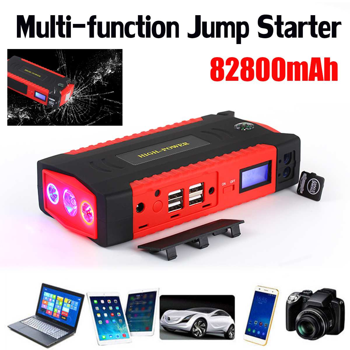 82800mAh 4USB Car Jump Starter Multifunction Emergency Charger Battery Power Bank Pack Booster 12V Starting Device Waterproof