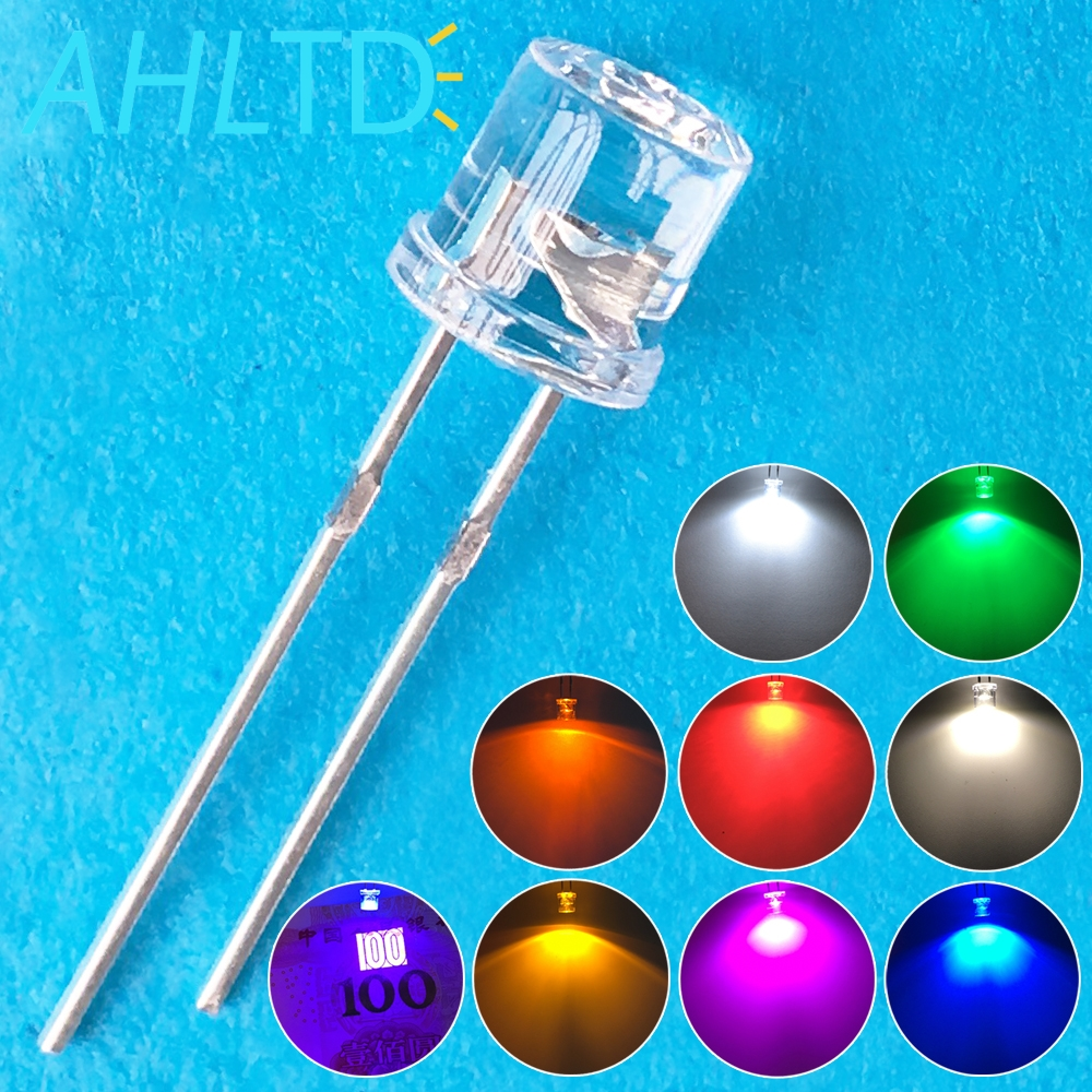 1000pcs 5mm Flat top white Red Pink Yellow Blue Wide Angle Light lamp Diode LED ultra bright bulbs emitting diodes F5 Lamp