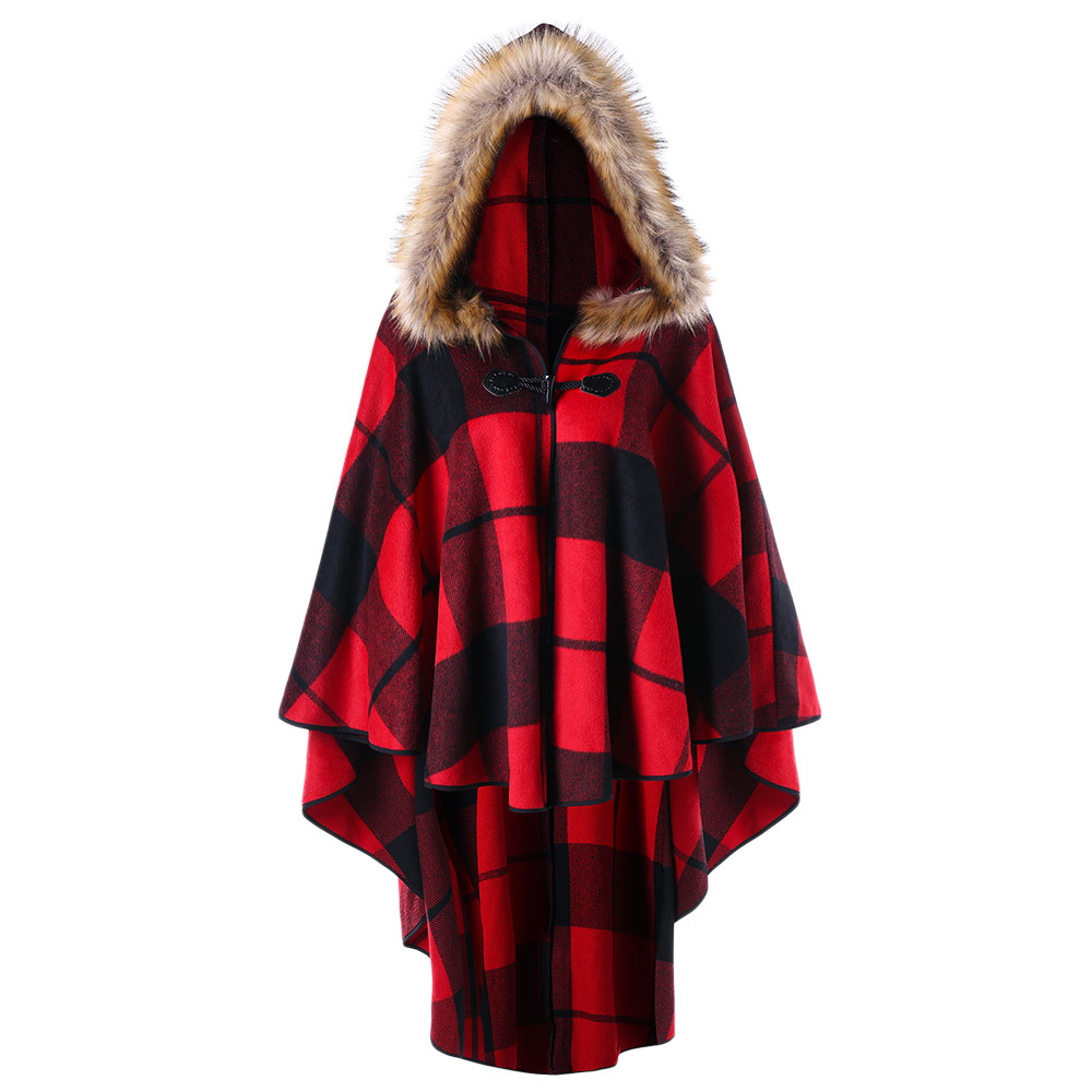 Plus Size Plaid   Trench   Coat High Low Hooded Cloak Year Winter Coat Women Hooded Capes Coats Womens Outerwear 5XL