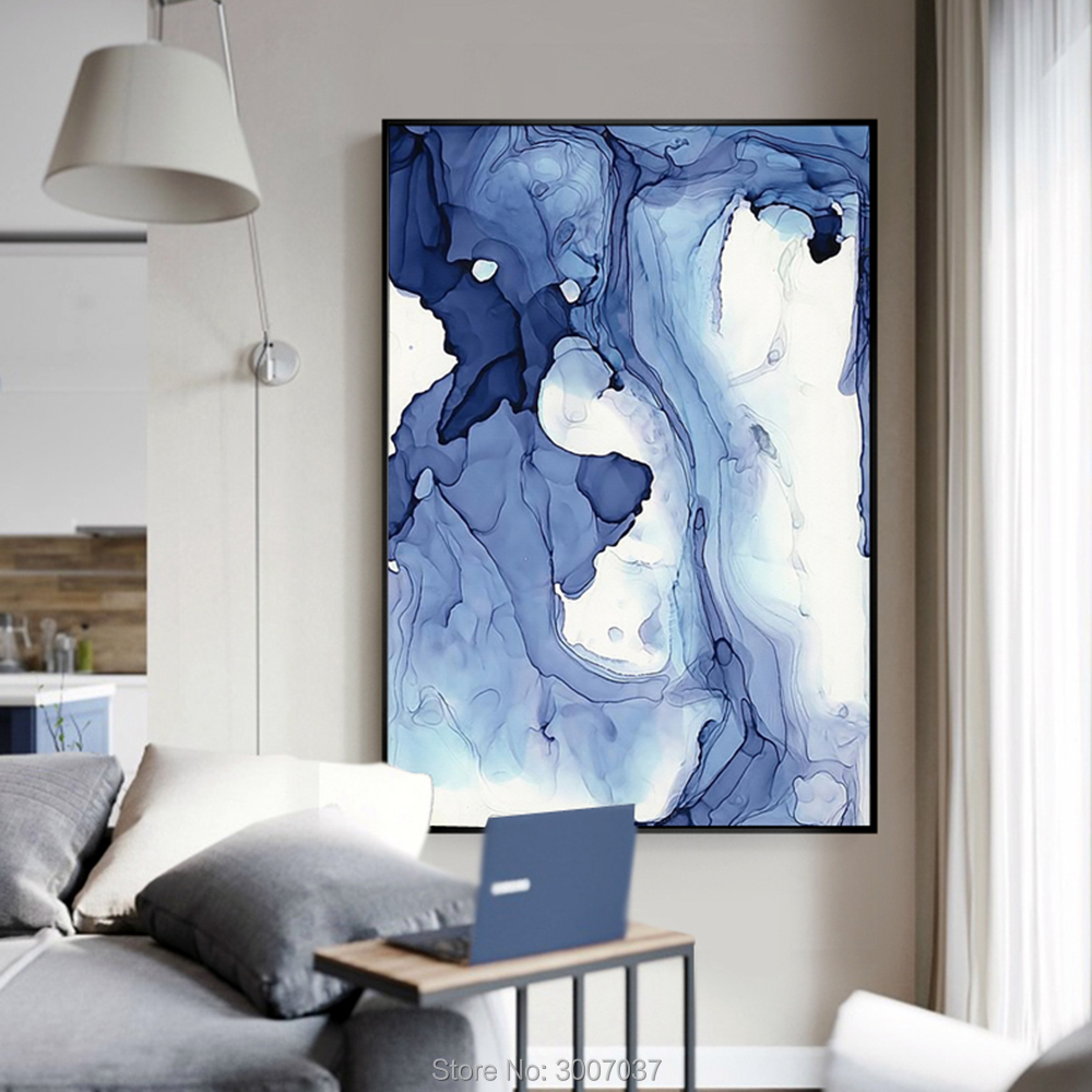 Hand Painted Blue Watercolor Abstract Pattern Modern Art Painting Art Posters Oil Painting Canvas Paintings For Home Decor