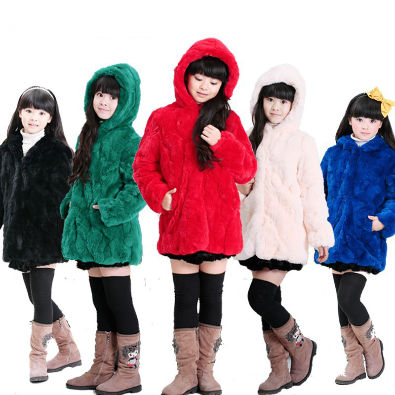 Children Real Rabbit Fur Coat Autumn Winter Warm Girls Natural Fur Clothing Long Hat Babys Thick Long Solid Coat C#13 waist belted solid long coat
