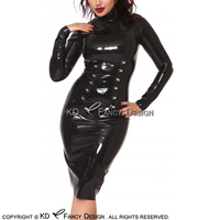 Черный сексуальный латекс платье со шнуровкой спереди и полной задней молнии платье из латекса Bodycon Женский костюм пляжного типа больших ра