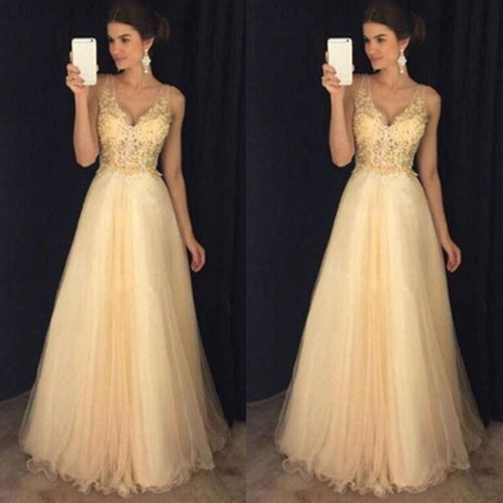 26d24e2e90 Women Formal Bridesmaid Long Maxi Dress Party Prom Ball Gown V neck Dress  New Fashion Elegant