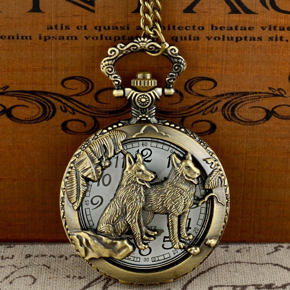 Vintage Bronze Dog Graphic Quartz Pocket Watch With Chain Retro Men Women Classic Pendant Necklace Clock Gift