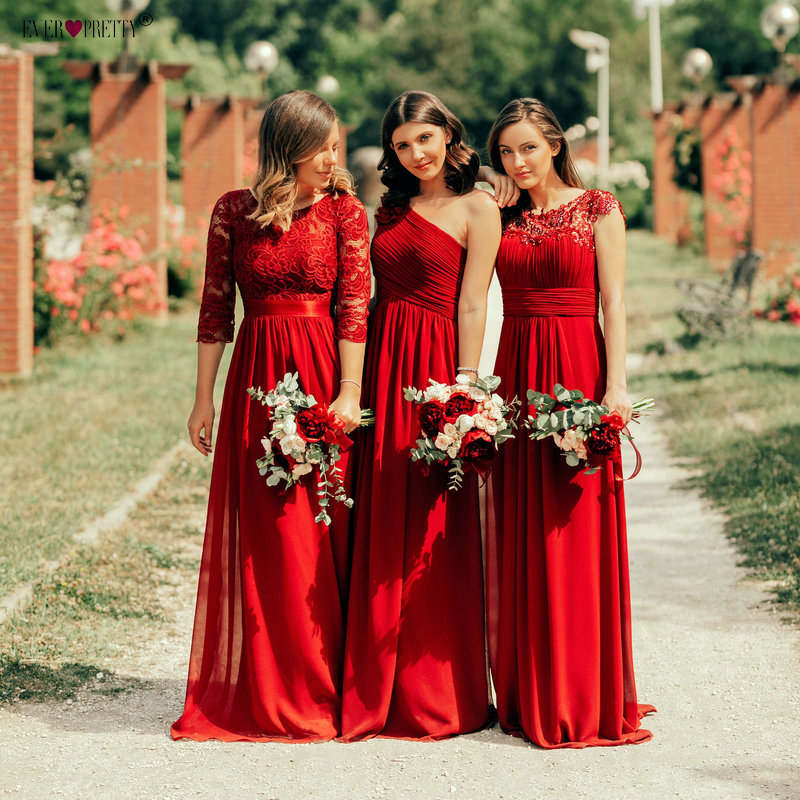 New Arrival Burgundy Bridesmaid Dresses Ever Pretty New Arrival One-shoulder Sexy Lace Chiffon Wedding Guest Gowns 2019