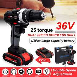 36V Cordless Drill Daul-Speed Adjustment LED lighting Electric Drill with large capacity Li-ion Battery