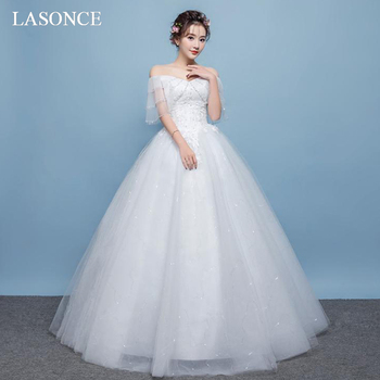 LASONCE Sequined V Neck Lace Appliques Ball Gown Wedding Dresses Off The Shoulder Short Sleeve Backless Bridal Dress