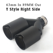Universal Thickened Real Carbon Fiber Car Exhaust Dual End Tips Y Style Right Side Full Matte  for BMW 63mm In 89MM Out