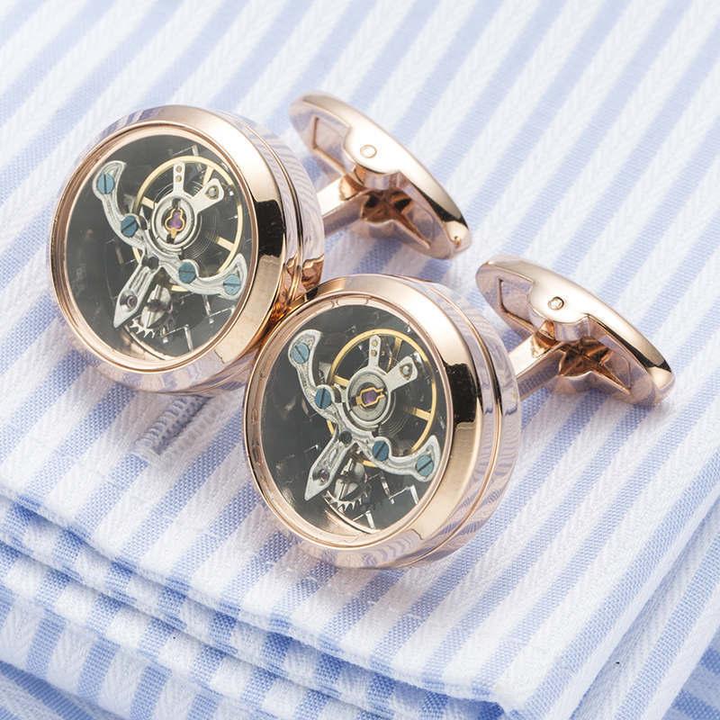 High quality Movement Tourbillon Cuff links Designer Cufflinks Stylish Steampunk Gear Watch Cuffs Shirt Sleeve Buttons Men цена