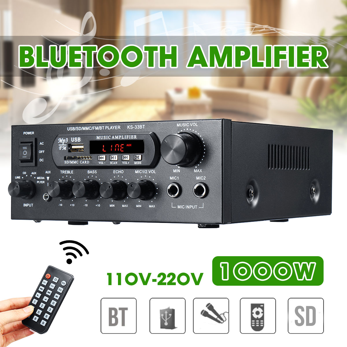 1000W 220V 110V Audio Power Amplifier Home Theater Amplifiers Audio With Remote Control Support FM USB SD Card Bluetooth(China)