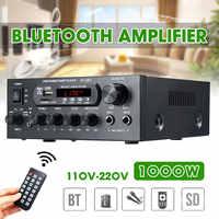 1000W 220V 110V Audio Power Verstärker Heimkino Verstärker Audio mit Fernbedienung Unterstützung FM USB SD karte bluetooth