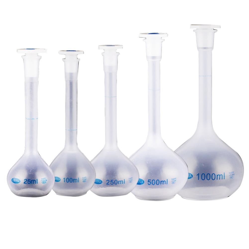 New School Lab Plastic Clear Vase Shape Measuring Flask Bottle With Stopper Long Neck Volumetric Durable Experiment Heatproof#63
