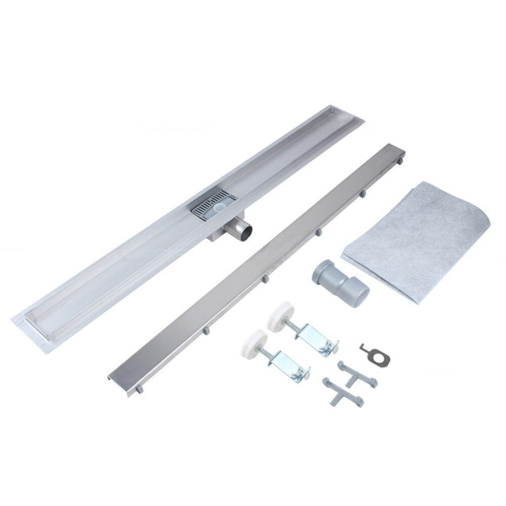 Floor-Drain Shower Bathroom-Channel Linear Stainless-Steel Grate Tile Long 800MM/900MM