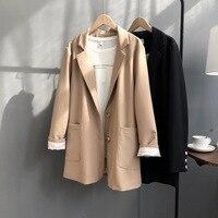 Khaki Women Long Blazer Pocket Doule Button Notched office Black Blazer Feminino coat