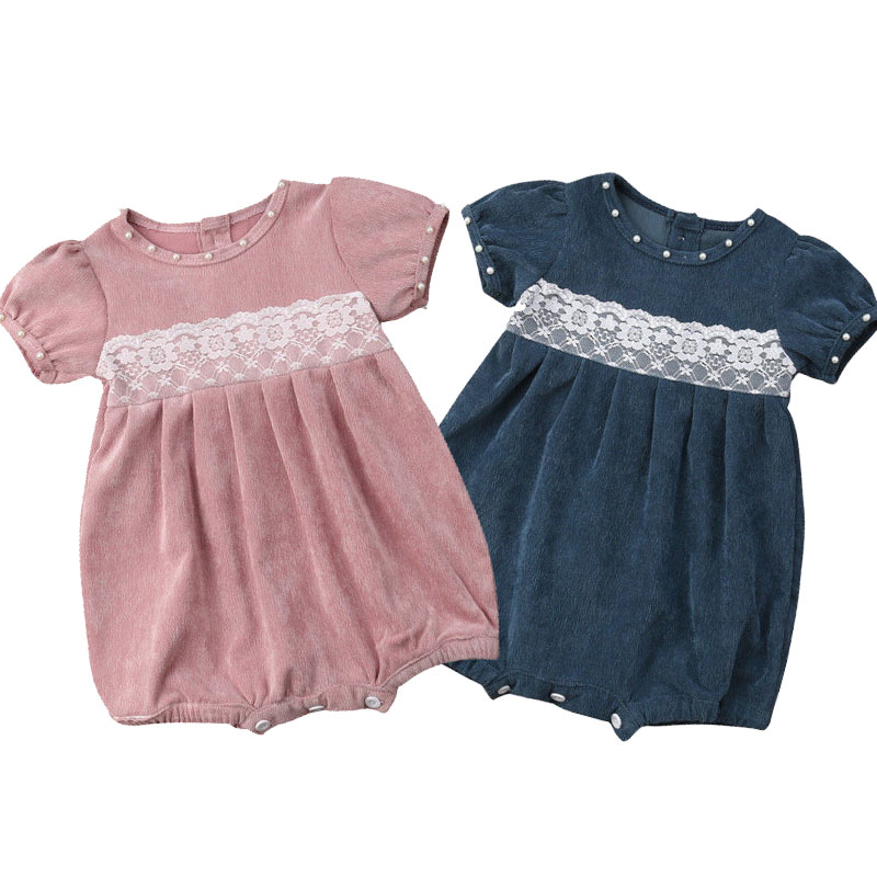 Corduroy Baby Girl Bodysuits Infant Newborn Jumpsuits Princess Pearl Lace Overalls Short Sleeve Girls Baby Clothing Outerwear