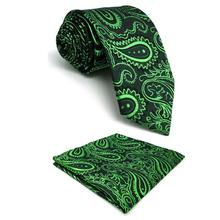 Green Blue Paisley Mens Ties Necktie Set Pocket Square Wedding Silk Fashion 63 Classic