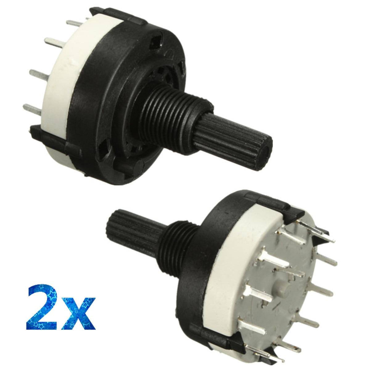 2pcs 1 Pole 12 Way 0.3A 250VAC Black Rotary Switch Solder Terminals 18 Teeth Shaft