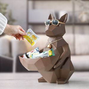 Image 3 - Cat Dog Figurines Resin Moden Crafts Animals Miniature cute ornaments for Home office decoration Storage bowl Carved Collectible